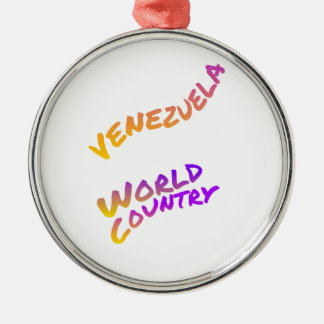 Ornamento De Metal País do mundo de Venezuela, arte colorida do texto