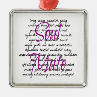 Ornamento De Metal Palavras para a alma gémea fêmea