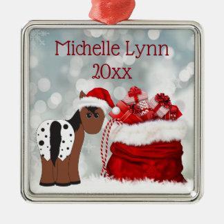 Ornamento De Metal Papai noel bonito personalizado cavalo e Natal dos