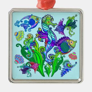 Ornamento De Metal Peixes exóticos & cavalos marinhos da vida marinha