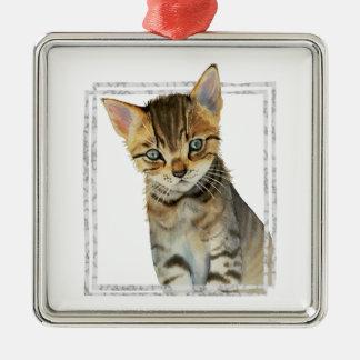 Ornamento De Metal Pintura do gatinho do gato malhado com quadro de