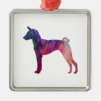 Ornamento De Metal Rosa da silhueta do teste padrão de Geo do cão de