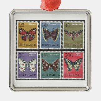 Ornamento De Metal Selos postais da borboleta