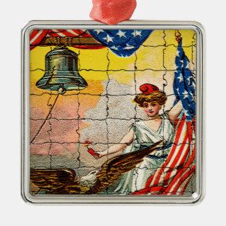 Ornamento De Metal Senhora do vintage, Eagle, bandeira e Liberty Bell