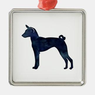 Ornamento De Metal Silhueta da aguarela do preto do cão de Basenji