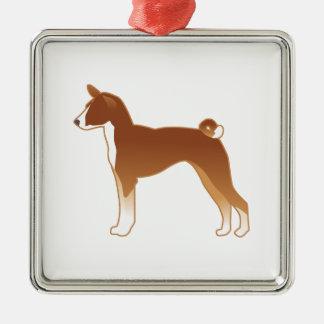 Ornamento De Metal Silhueta da ilustração da raça do cão de Basenji