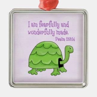 Ornamento De Metal tartaruga do cristão dos miúdos do 139:14 do salmo