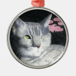Ornamento De Metal Um gato malhado Eyed das cinzas de Jack