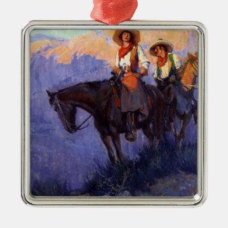 Ornamento De Metal Vaqueiros do vintage, homem e mulher em cavalos,