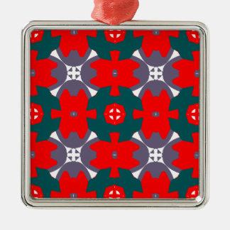 Ornamento De Metal Xadrez vermelha e verde
