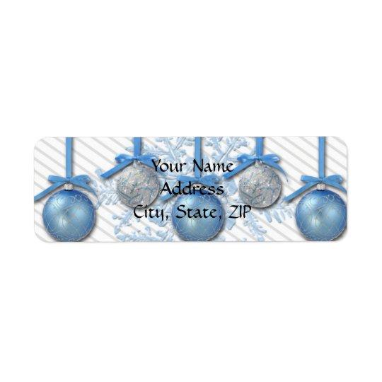 Ornamento do brilho do azul e da prata etiqueta endereço de retorno