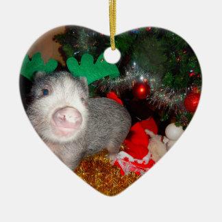 Ornamento do coração de porco do Natal doce mini