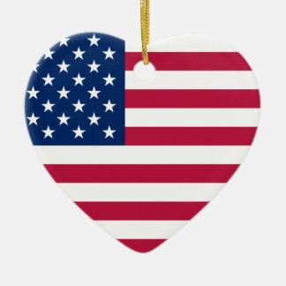 Ornamento do coração dos EUA da bandeira americana
