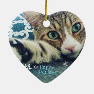 Ornamento do gato de gato malhado do floco de neve