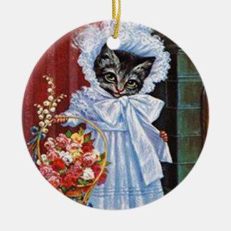 Ornamento do gato de gato malhado do Victorian