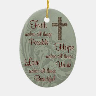 Ornamento do Oval da esperança & do amor da fé