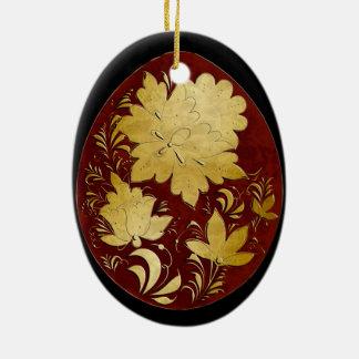 Ornamento do ovo - arte popular 33 do russo - BB Ornamento De Cerâmica Oval