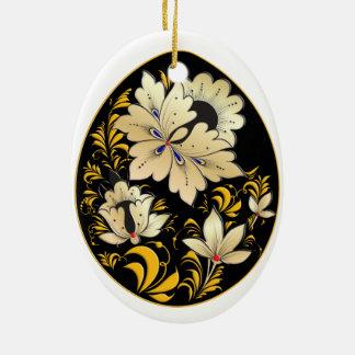 Ornamento do ovo - arte popular 8 do russo - BB Ornamento De Cerâmica Oval