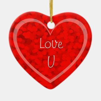 Ornamento do presente do coração do amor U do dia