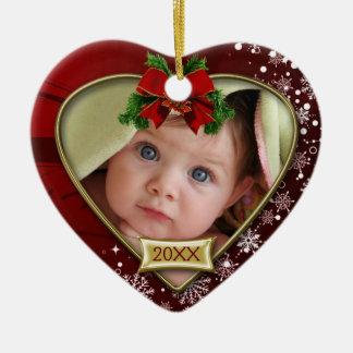 Ornamento do quadro da foto do Natal do bebê