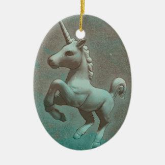 Ornamento do unicórnio - Oval (aço da cerceta)