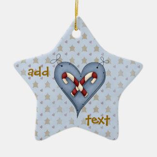 Ornamento dos bastões de doces do coração do anjo