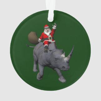 Ornamento Equitação de Papai Noel no rinoceronte