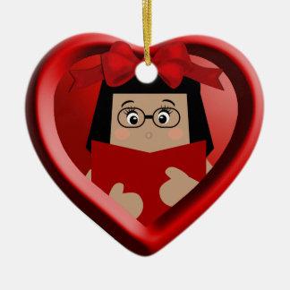 Ornamento fêmea 1 do coração do amante de livro do