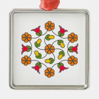 Ornamento-Flor quadrada Series#63 Ornamento Quadrado Cor Prata