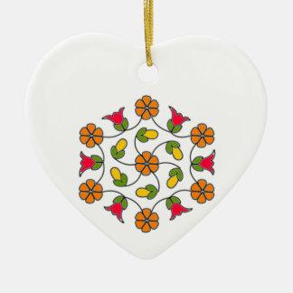 Ornamento-Flor Series#63 do coração Ornamento De Cerâmica Coração