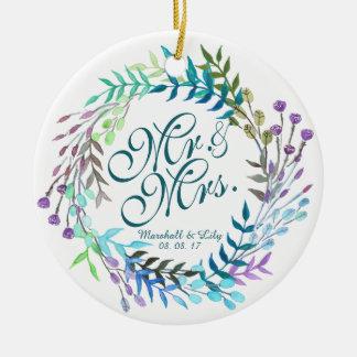 Ornamento floral personalizado do casamento da