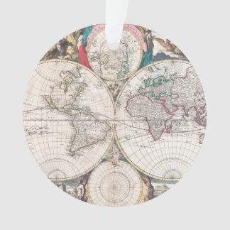 Ornamento Mapa do mundo antigo do Dobro-Hemisfério