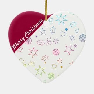 Ornamento moderno do coração do Feliz Natal