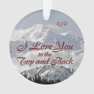 Ornamento Montanhas do vintage: Eu te amo a superior