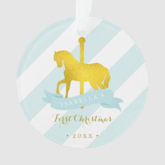 Ornamento Natal do bebê do cavalo do carrossel da hortelã &