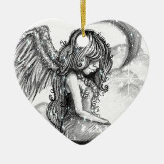 Ornamento nevado do anjo da lua da noite