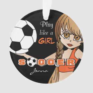 Ornamento O jogo gosta de um futebol   da menina  