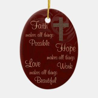Ornamento oval Borgonha da esperança & do amor da