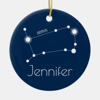 Ornamento personalizado da constelação dos Gêmeos