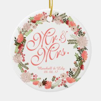 Ornamento personalizado do casamento da aguarela