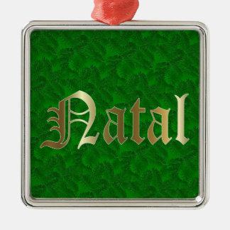 Ornamento quadrado Spruce dourado do Natal