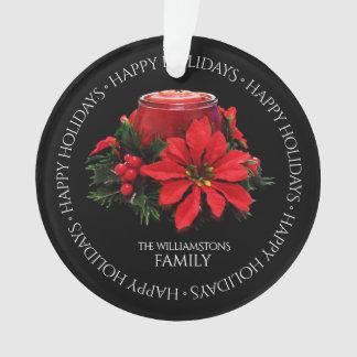 Ornamento Vela, azevinho e poinsétia vermelhos festivos do