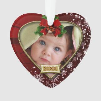 Ornamento Vermelho/Natal bebê dos flocos de neve ø