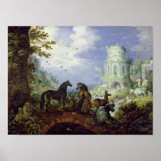 Orpheus que encanta os animais, 1626 poster