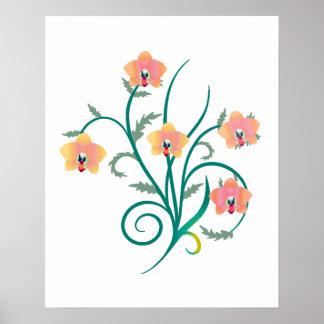 Orquídeas cor-de-rosa e amarelas do Phalaenopsis Poster