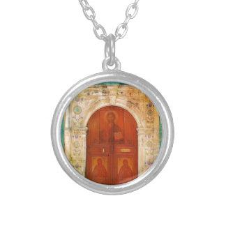 Ortodoxo grego da porta do ícone do Jesus Cristo Colar Banhado A Prata