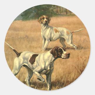 Os animais do vintage, ponteiro perseguem a caça adesivo