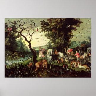 Os animais que entram na arca de Noah Poster