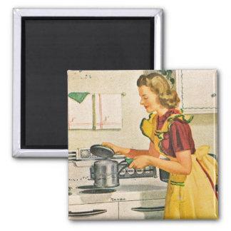 os anos 40 que cozinham a dona de casa ímã quadrado
