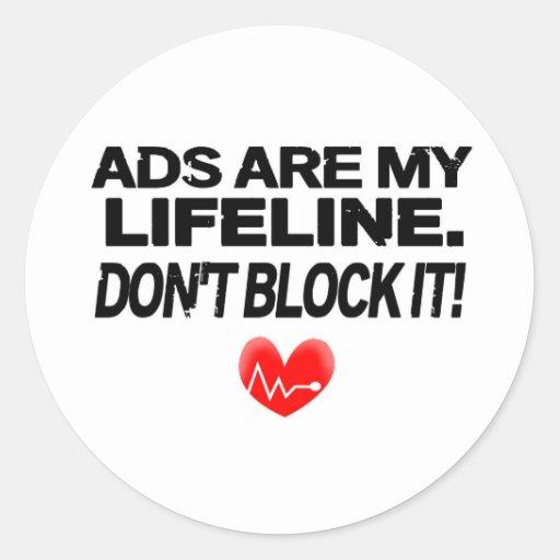 Os anúncios são cordas de salvamento adesivos em formato redondos